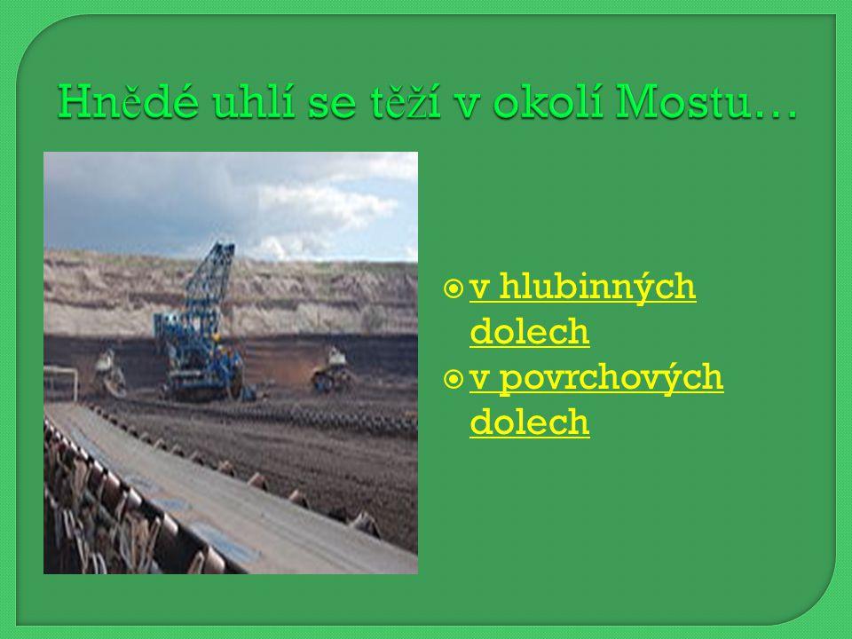  v hlubinných dolech v hlubinných dolech  v povrchových dolech v povrchových dolech