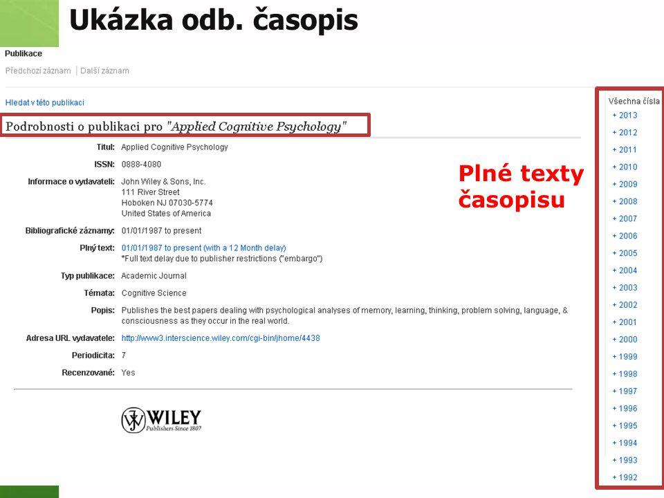 Ukázka odb. časopis Plné texty časopisu