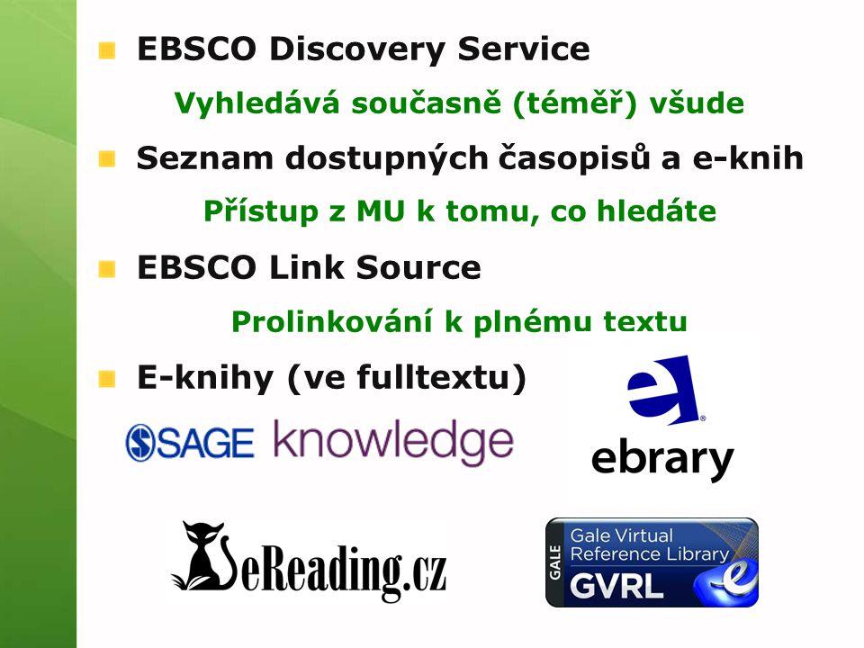 EBSCO Discovery Service Vyhledává současně (téměř) všude Seznam dostupných časopisů a e-knih Přístup z MU k tomu, co hledáte EBSCO Link Source Prolinkování k plnému textu E-knihy (ve fulltextu)