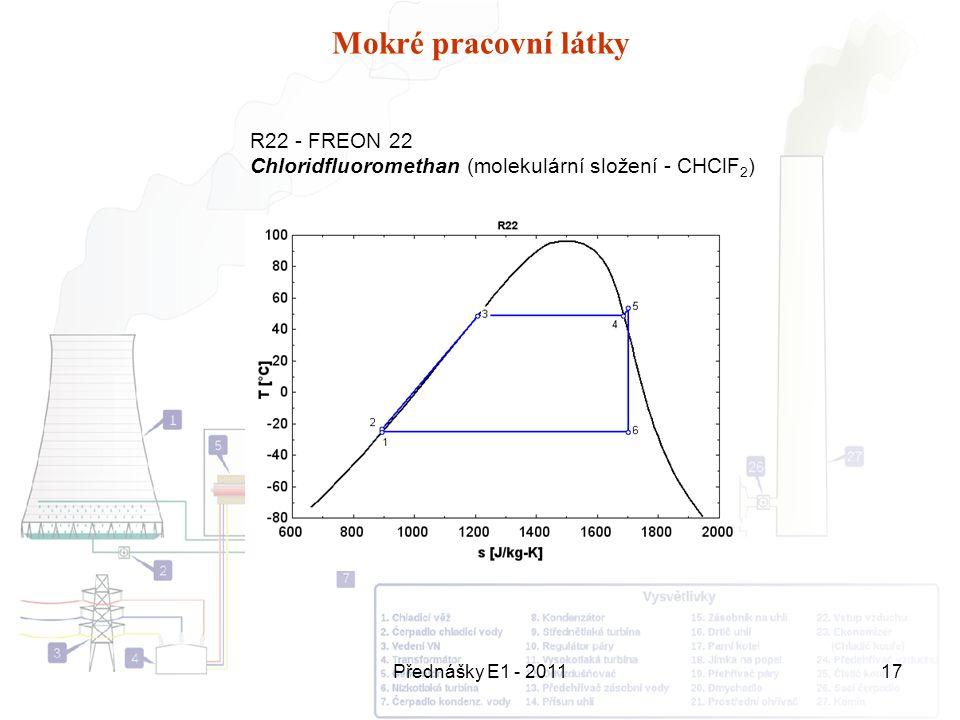 Přednášky E1 - 201117 Mokré pracovní látky R22 - FREON 22 Chloridfluoromethan (molekulární složení - CHClF 2 )