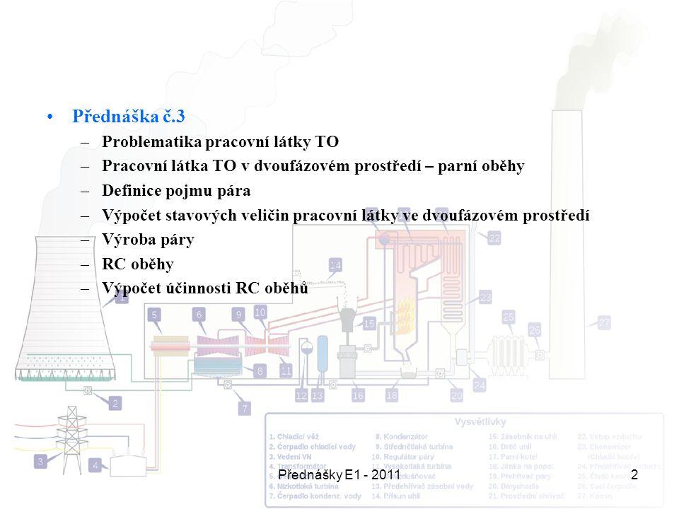 Přednášky E1 - 20112 Přednáška č.3 –Problematika pracovní látky TO –Pracovní látka TO v dvoufázovém prostředí – parní oběhy –Definice pojmu pára –Výpo