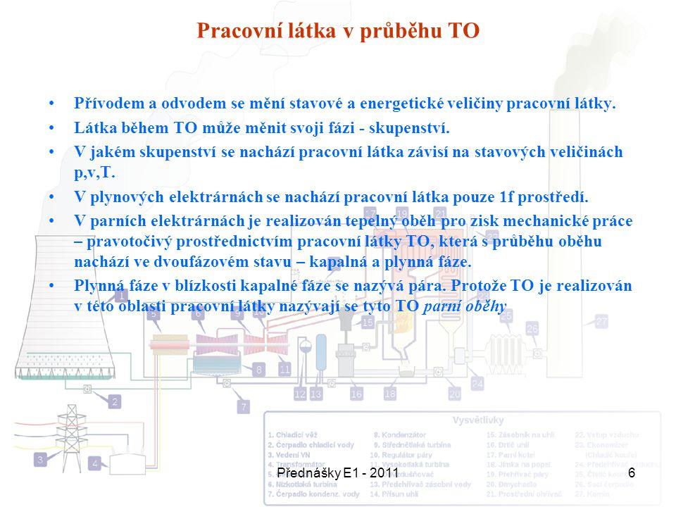 Přednášky E1 - 20116 Pracovní látka v průběhu TO Přívodem a odvodem se mění stavové a energetické veličiny pracovní látky. Látka během TO může měnit s