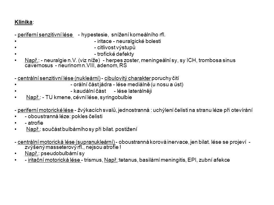 Klinika: - periferní senzitivní lése - hypestesie, snížení korneálního rfl. - iritace - neuralgické bolesti - citlivost výstupů - trofické defekty Nap
