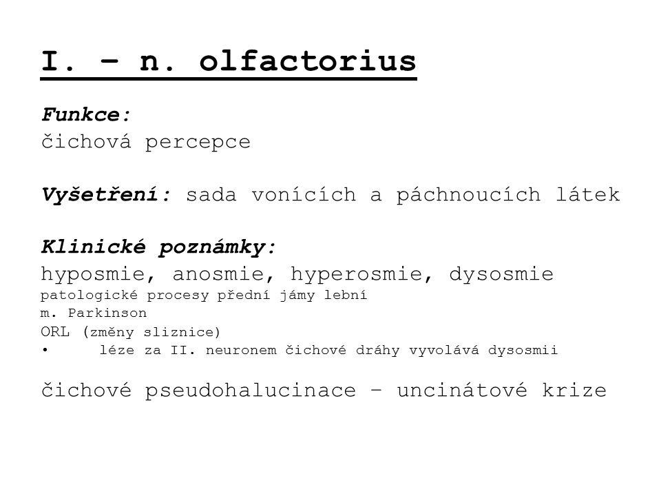 I. – n. olfactorius Funkce: čichová percepce Vyšetření: sada vonících a páchnoucích látek Klinické poznámky: hyposmie, anosmie, hyperosmie, dysosmie p