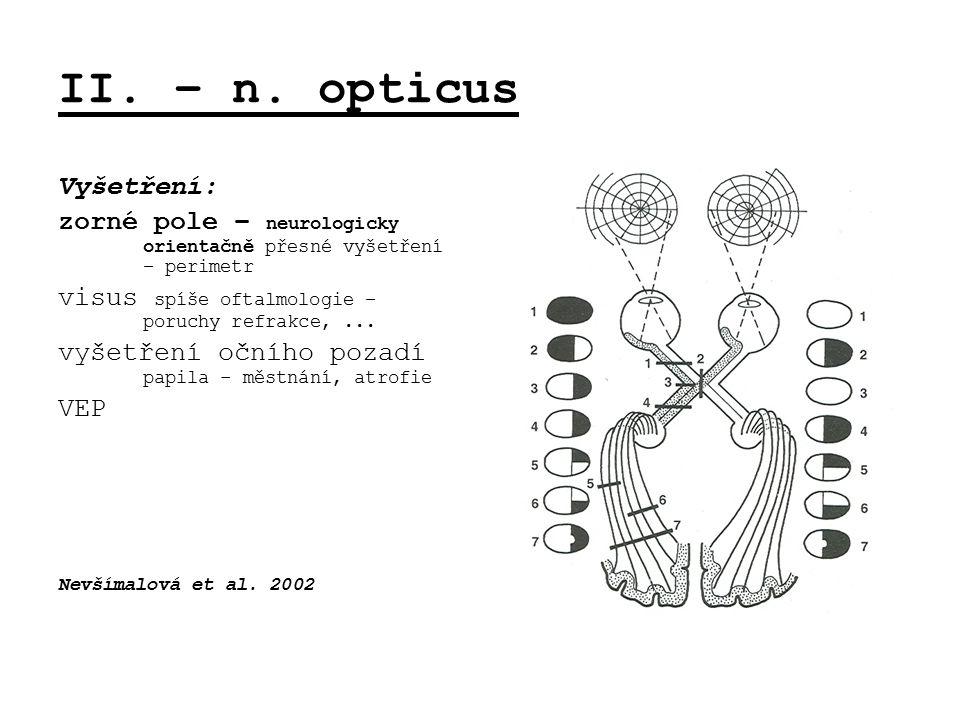 II. – n. opticus Vyšetření: zorné pole – neurologicky orientačně přesné vyšetření – perimetr visus spíše oftalmologie – poruchy refrakce,... vyšetření