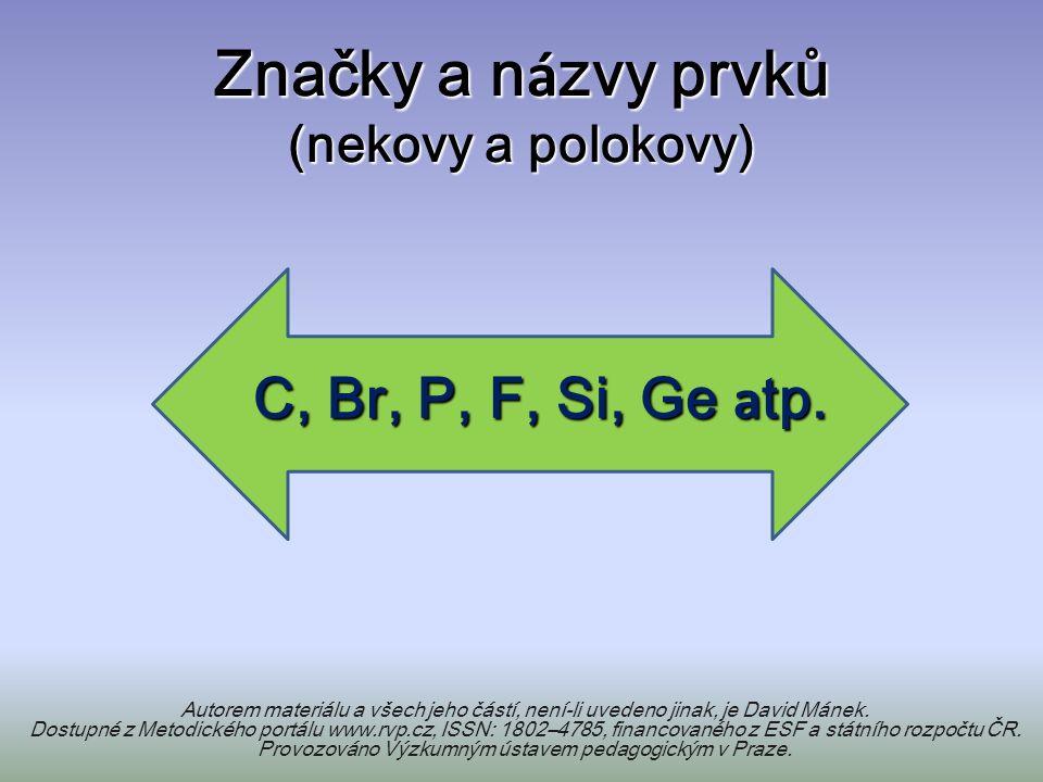 Značky a n á zvy prvků (nekovy a polokovy) Autorem materiálu a všech jeho částí, není-li uvedeno jinak, je David Mánek.