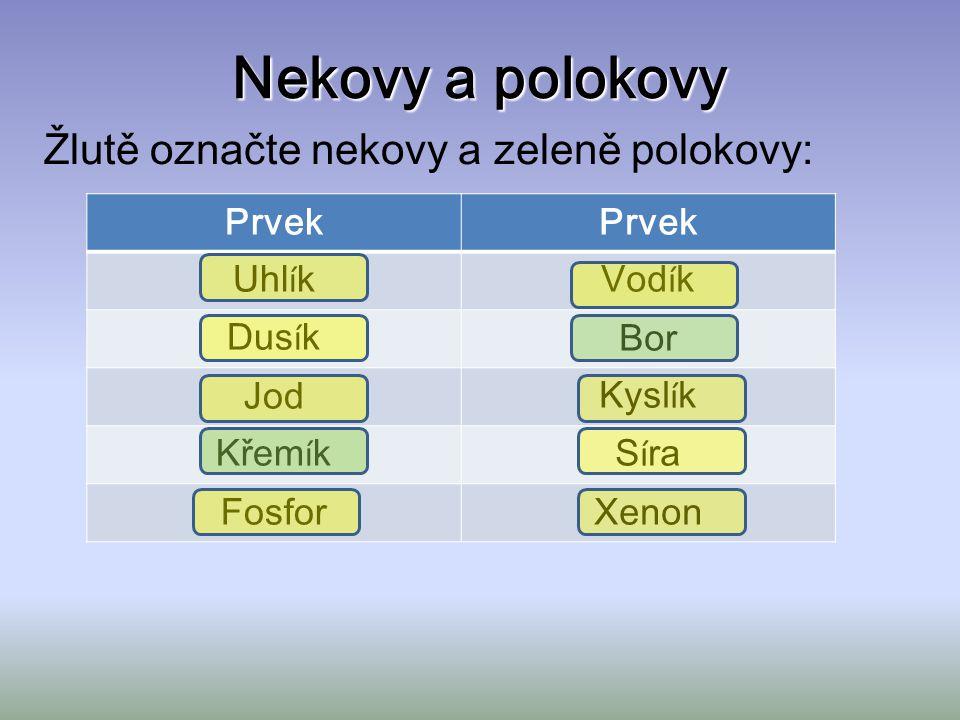 Nekovy a polokovy Žlutě označte nekovy a zeleně polokovy: Prvek Uhl í kVod í k Dus í kBor JodKysl í k Křem í kS í ra FosforXenon