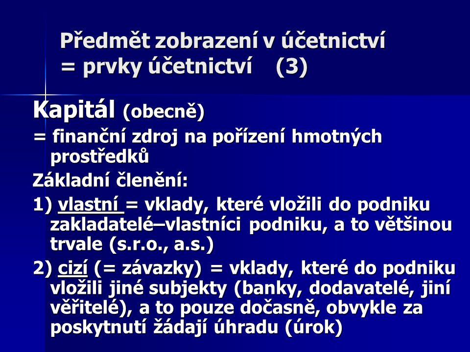 Předmět zobrazení v účetnictví = prvky účetnictví (3) Kapitál (obecně) = finanční zdroj na pořízení hmotných prostředků Základní členění: 1) vlastní =