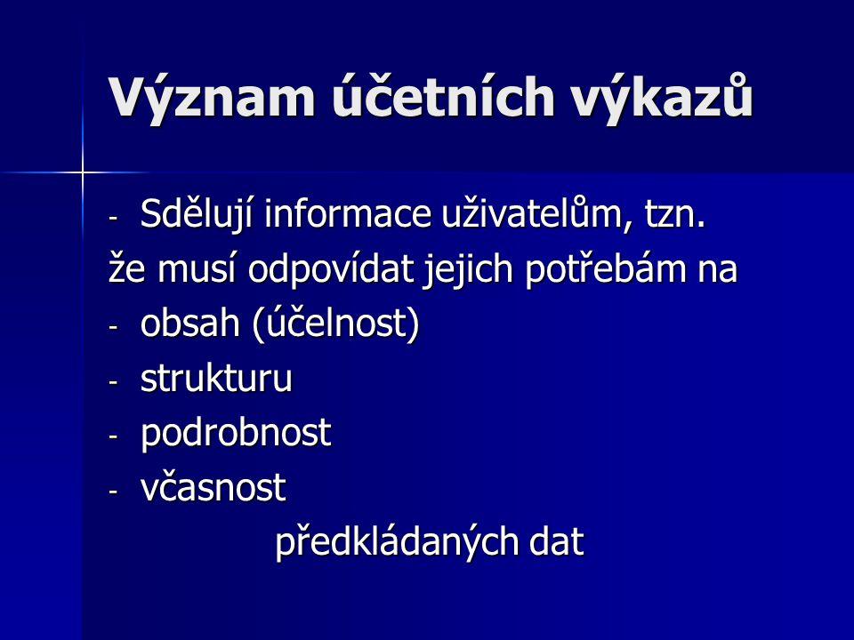 Význam účetních výkazů - Sdělují informace uživatelům, tzn.