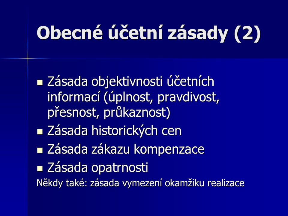 Obecné účetní zásady (2) Zásada objektivnosti účetních informací (úplnost, pravdivost, přesnost, průkaznost) Zásada objektivnosti účetních informací (úplnost, pravdivost, přesnost, průkaznost) Zásada historických cen Zásada historických cen Zásada zákazu kompenzace Zásada zákazu kompenzace Zásada opatrnosti Zásada opatrnosti Někdy také: zásada vymezení okamžiku realizace