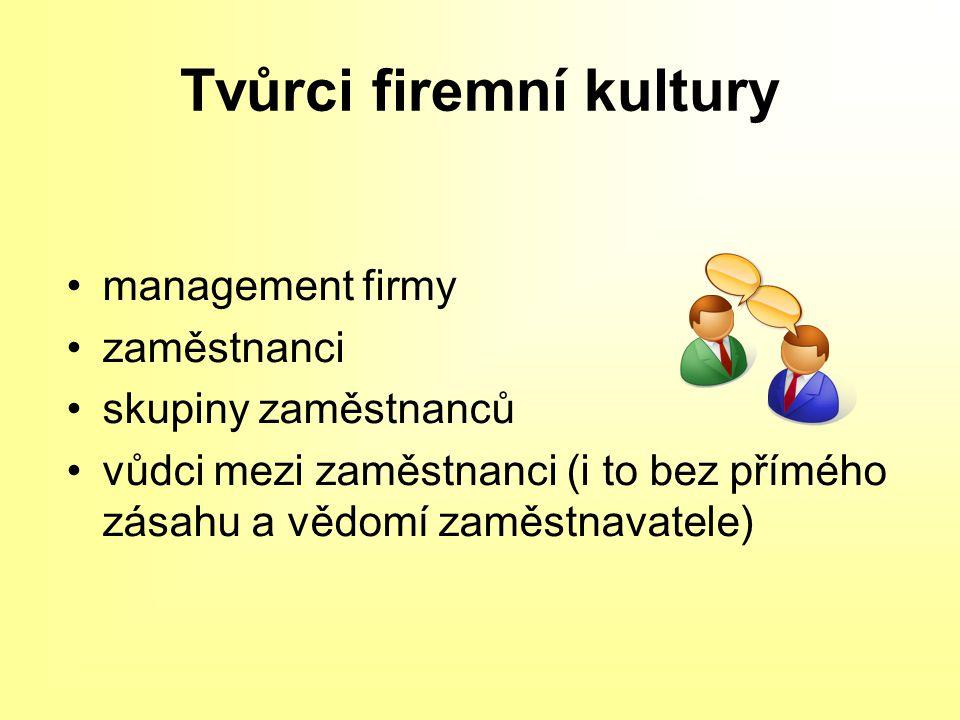 Tvůrci firemní kultury management firmy zaměstnanci skupiny zaměstnanců vůdci mezi zaměstnanci (i to bez přímého zásahu a vědomí zaměstnavatele)