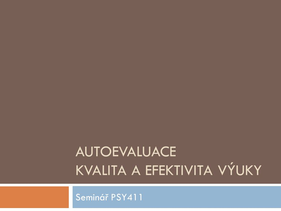 AUTOEVALUACE KVALITA A EFEKTIVITA VÝUKY Seminář PSY411