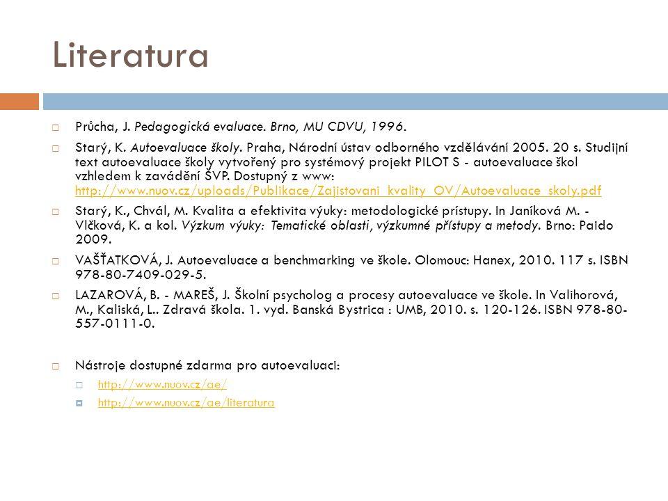 Literatura  Průcha, J. Pedagogická evaluace. Brno, MU CDVU, 1996.  Starý, K. Autoevaluace školy. Praha, Národní ústav odborného vzdělávání 2005. 20