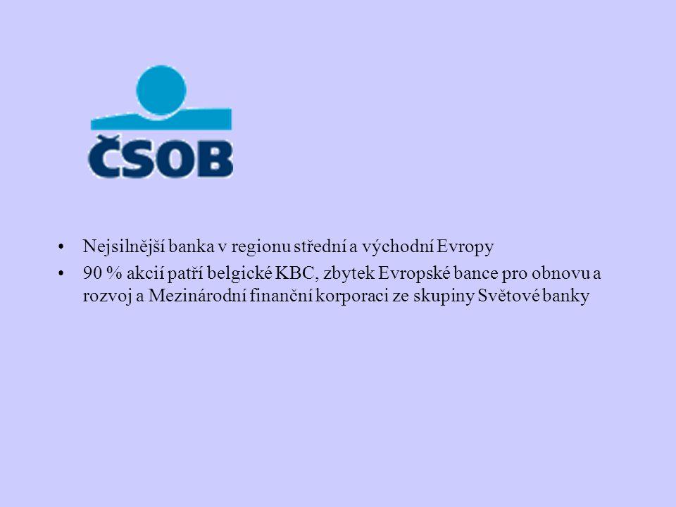 Nejsilnější banka v regionu střední a východní Evropy 90 % akcií patří belgické KBC, zbytek Evropské bance pro obnovu a rozvoj a Mezinárodní finanční