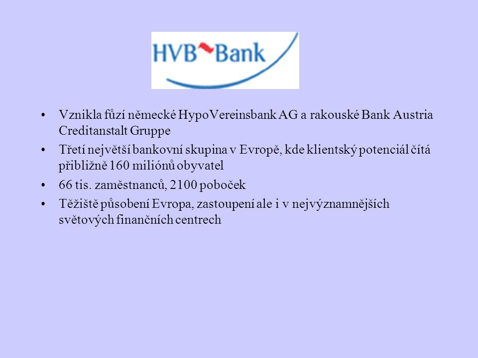 Vznikla fůzí německé HypoVereinsbank AG a rakouské Bank Austria Creditanstalt Gruppe Třetí největší bankovní skupina v Evropě, kde klientský potenciál
