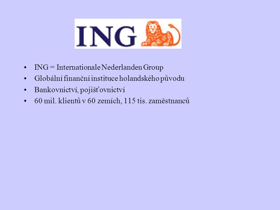 ING = Internationale Nederlanden Group Globální finanční instituce holandského původu Bankovnictví, pojišťovnictví 60 mil. klientů v 60 zemích, 115 ti