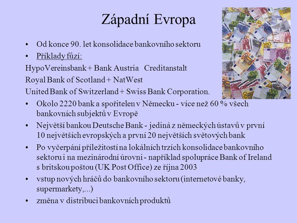 Západní Evropa Od konce 90. let konsolidace bankovního sektoru Příklady fůzí: HypoVereinsbank + Bank Austria Creditanstalt Royal Bank of Scotland + Na