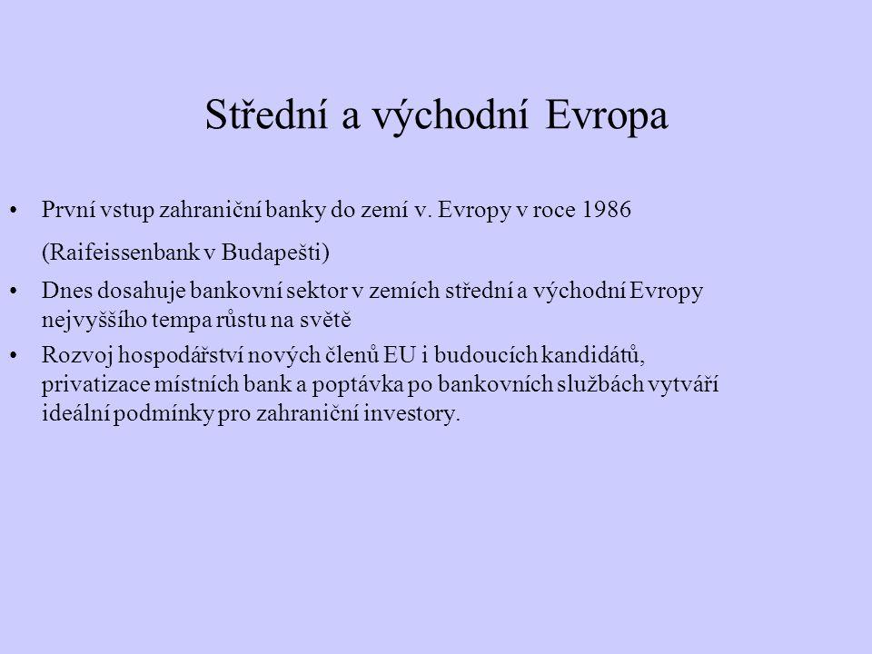 Střední a východní Evropa První vstup zahraniční banky do zemí v. Evropy v roce 1986 (Raifeissenbank v Budapešti) Dnes dosahuje bankovní sektor v zemí