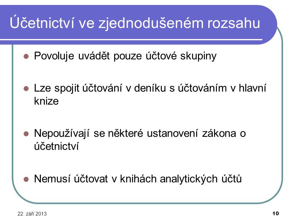 Účetnictví ve zjednodušeném rozsahu 22. září 2013 10 Povoluje uvádět pouze účtové skupiny Lze spojit účtování v deníku s účtováním v hlavní knize Nepo
