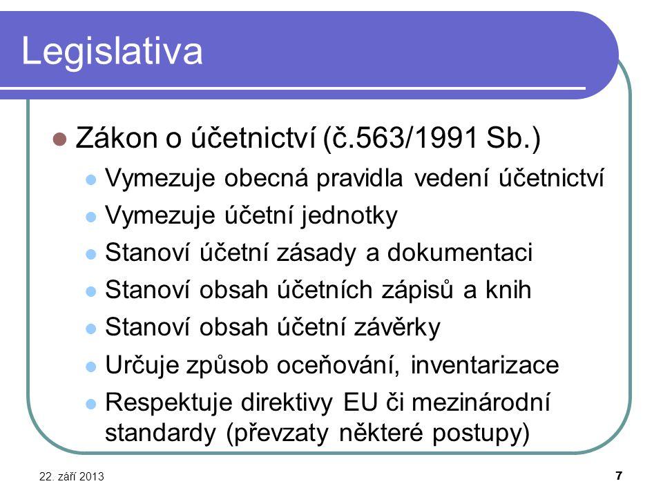 Legislativa 22. září 2013 7 Zákon o účetnictví (č.563/1991 Sb.) Vymezuje obecná pravidla vedení účetnictví Vymezuje účetní jednotky Stanoví účetní zás
