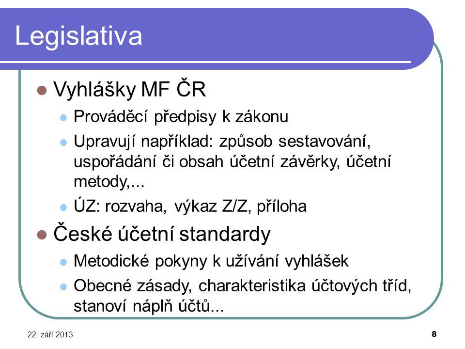 Legislativa 22. září 2013 8 Vyhlášky MF ČR Prováděcí předpisy k zákonu Upravují například: způsob sestavování, uspořádání či obsah účetní závěrky, úče