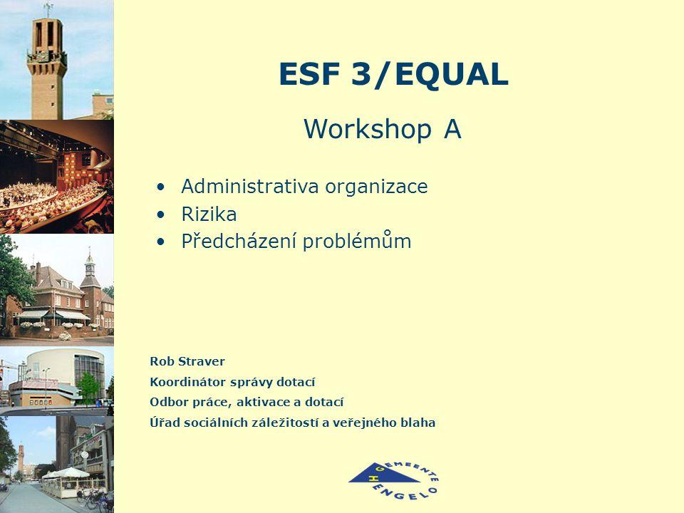 ESF 3/EQUAL Rob Straver Koordinátor správy dotací Odbor práce, aktivace a dotací Úřad sociálních záležitostí a veřejného blaha Workshop A Administrativa organizace Rizika Předcházení problémům