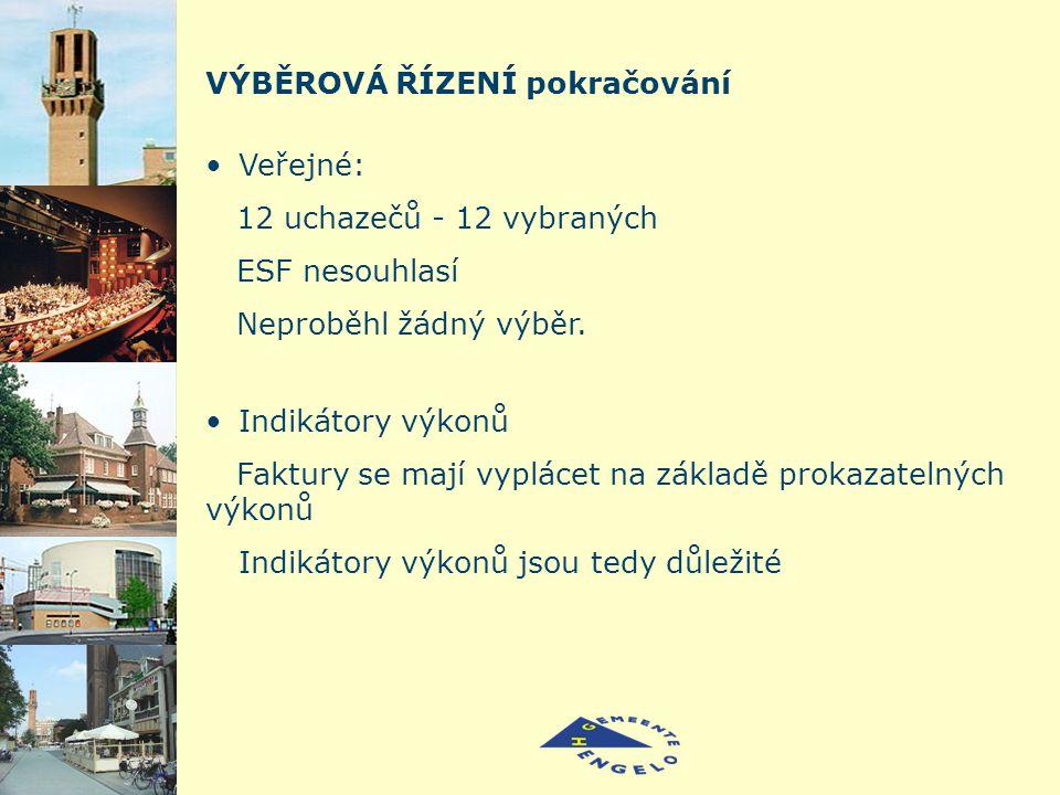VÝBĚROVÁ ŘÍZENÍ pokračování Veřejné: 12 uchazečů - 12 vybraných ESF nesouhlasí Neproběhl žádný výběr.