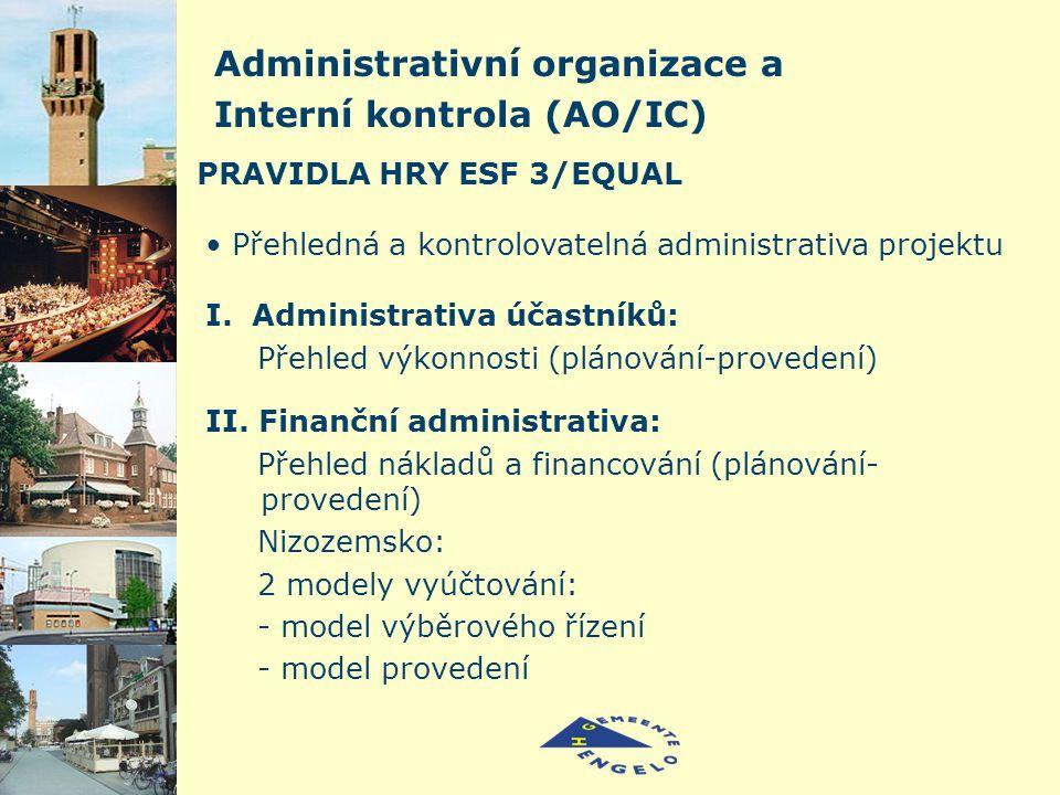 PRAVIDLA HRY ESF 3/EQUAL Přehledná a kontrolovatelná administrativa projektu Administrativní organizace a Interní kontrola (AO/IC) I.