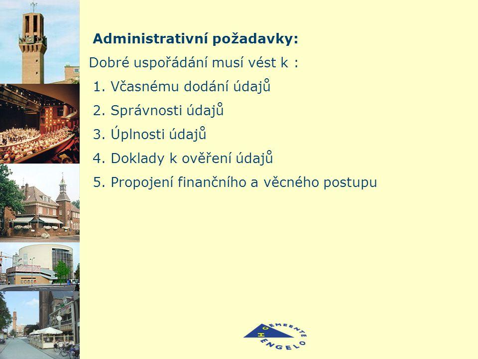 Administrativní požadavky: Dobré uspořádání musí vést k : 1.