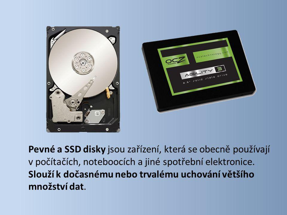 Pevné a SSD disky jsou zařízení, která se obecně používají v počítačích, noteboocích a jiné spotřební elektronice. Slouží k dočasnému nebo trvalému uc