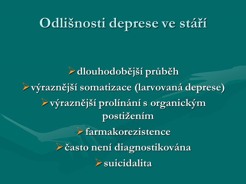 Odlišnosti deprese ve stáří  dlouhodobější průběh  výraznější somatizace (larvovaná deprese)  výraznější prolínání s organickým postižením  farmak