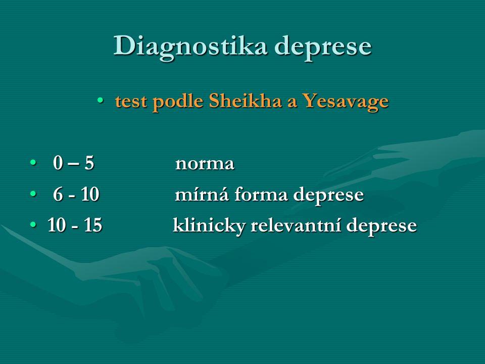 Diagnostika deprese test podle Sheikha a Yesavagetest podle Sheikha a Yesavage 0 – 5 norma 0 – 5 norma 6 - 10 mírná forma deprese 6 - 10 mírná forma d
