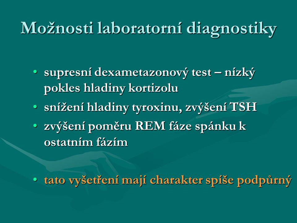 Možnosti laboratorní diagnostiky supresní dexametazonový test – nízký pokles hladiny kortizolusupresní dexametazonový test – nízký pokles hladiny kort