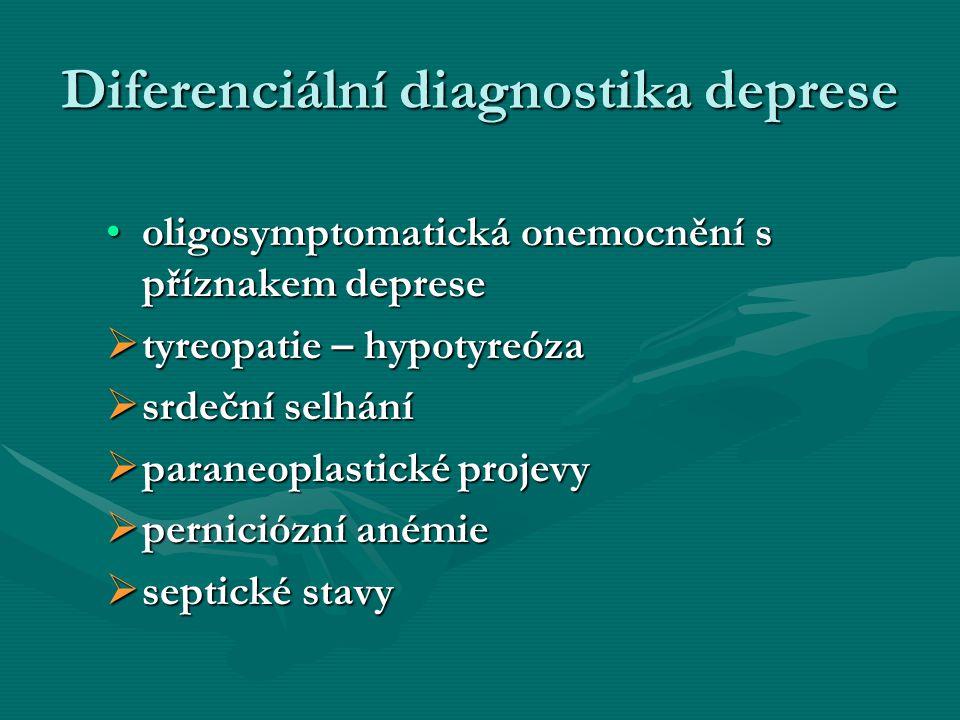 Diferenciální diagnostika deprese oligosymptomatická onemocnění s příznakem depreseoligosymptomatická onemocnění s příznakem deprese  tyreopatie – hy