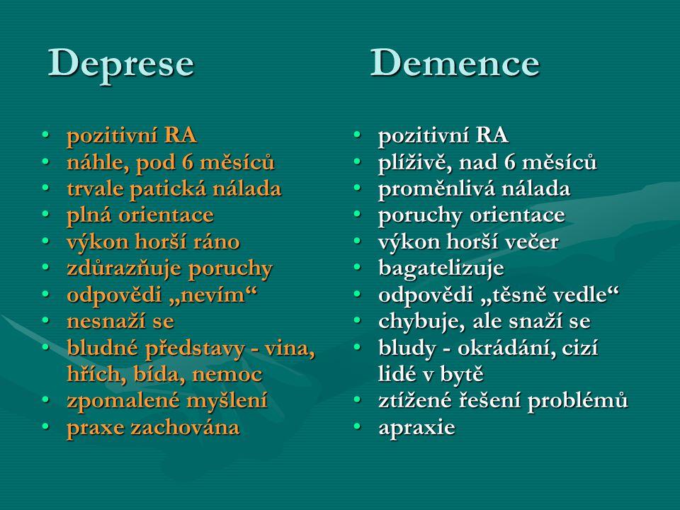 Deprese Demence pozitivní RApozitivní RA náhle, pod 6 měsícůnáhle, pod 6 měsíců trvale patická náladatrvale patická nálada plná orientaceplná orientac