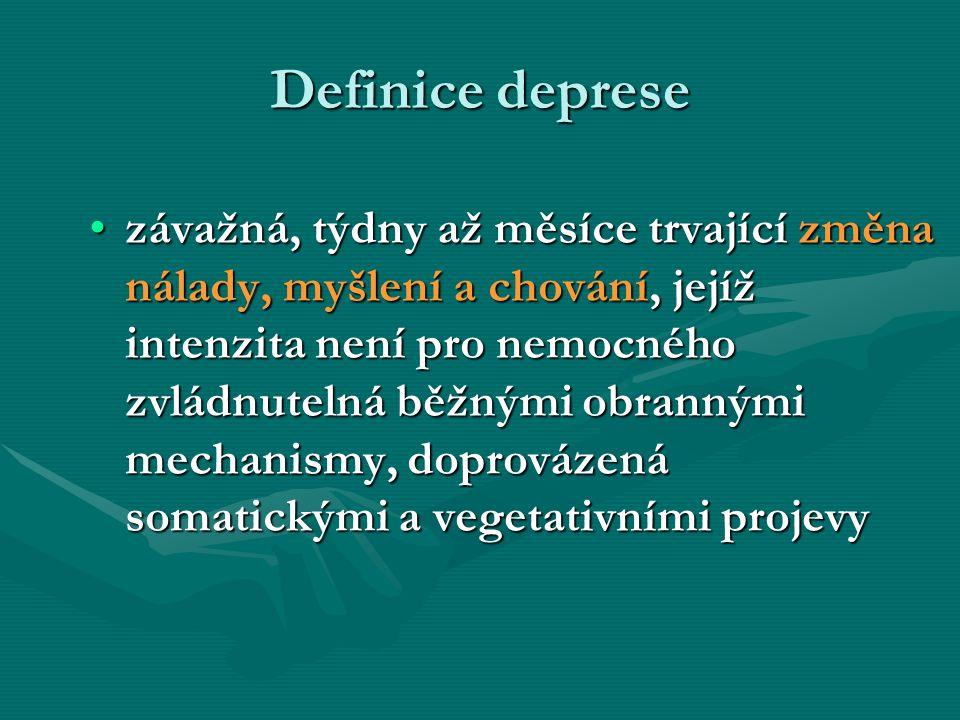 Vznik deprese I genetické vlohy vývoj osobnosti zátěž poruchy enzymů naučená bezmocnost, ztráta -chronobiologie ztráta blízkého blízkého, - neuronální v dětství frustrace, plasticity choroby plasticity choroby