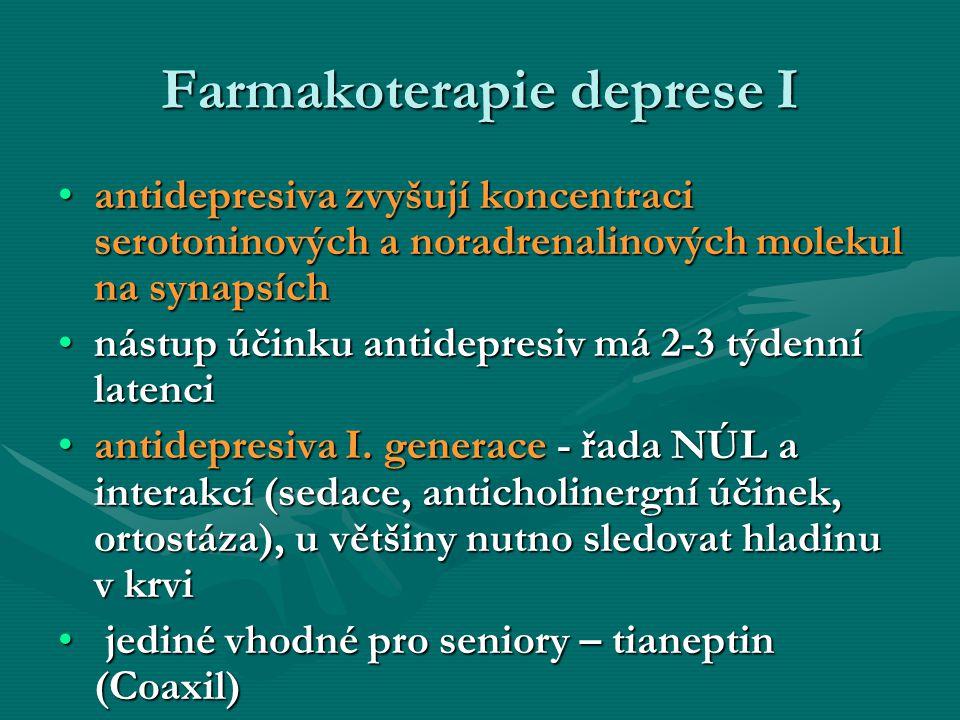 Farmakoterapie deprese I antidepresiva zvyšují koncentraci serotoninových a noradrenalinových molekul na synapsíchantidepresiva zvyšují koncentraci se