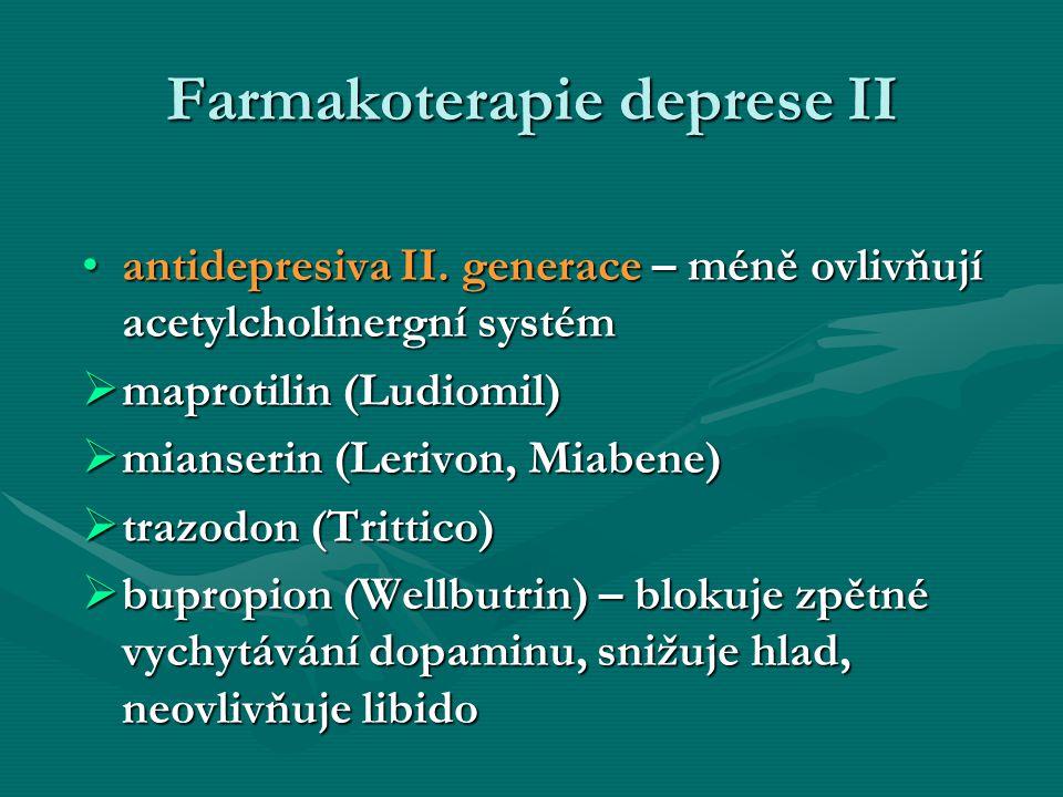 Farmakoterapie deprese II antidepresiva II. generace – méně ovlivňují acetylcholinergní systémantidepresiva II. generace – méně ovlivňují acetylcholin