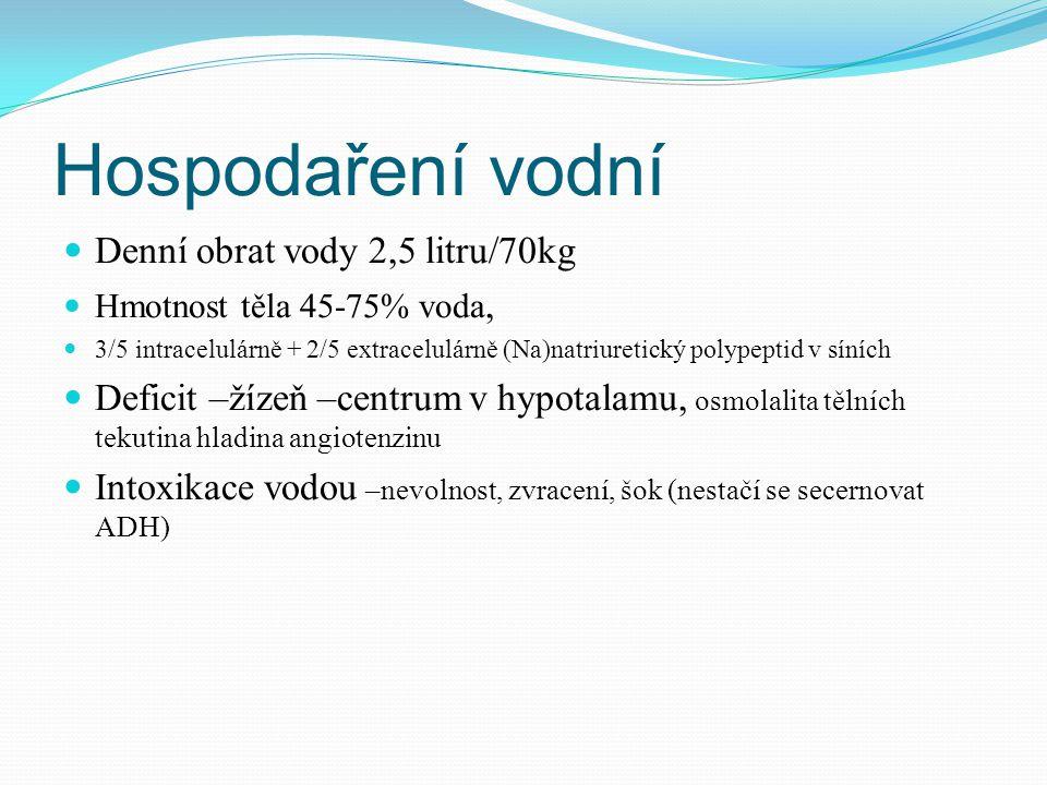 Hospodaření vodní Denní obrat vody 2,5 litru/70kg Hmotnost těla 45-75% voda, 3/5 intracelulárně + 2/5 extracelulárně (Na)natriuretický polypeptid v síních Deficit –žízeň –centrum v hypotalamu, osmolalita tělních tekutina hladina angiotenzinu Intoxikace vodou –nevolnost, zvracení, šok (nestačí se secernovat ADH)