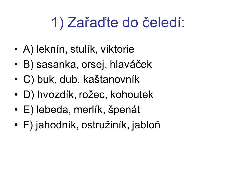 1) Zařaďte do čeledí: A) leknín, stulík, viktorie B) sasanka, orsej, hlaváček C) buk, dub, kaštanovník D) hvozdík, rožec, kohoutek E) lebeda, merlík, špenát F) jahodník, ostružiník, jabloň