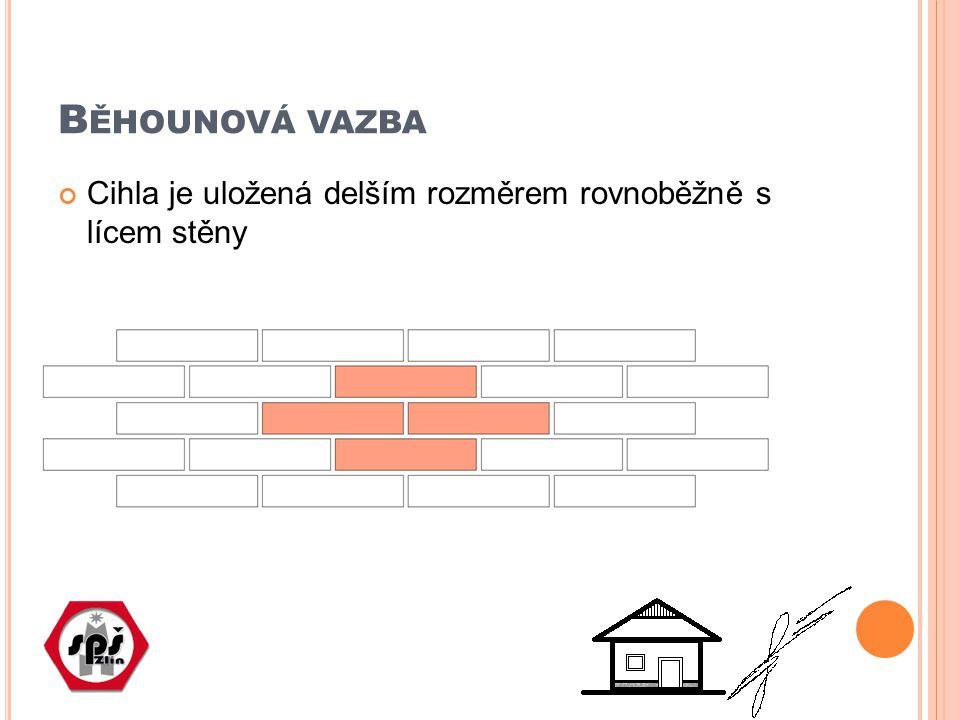 B ĚHOUNOVÁ VAZBA Cihla je uložená delším rozměrem rovnoběžně s lícem stěny