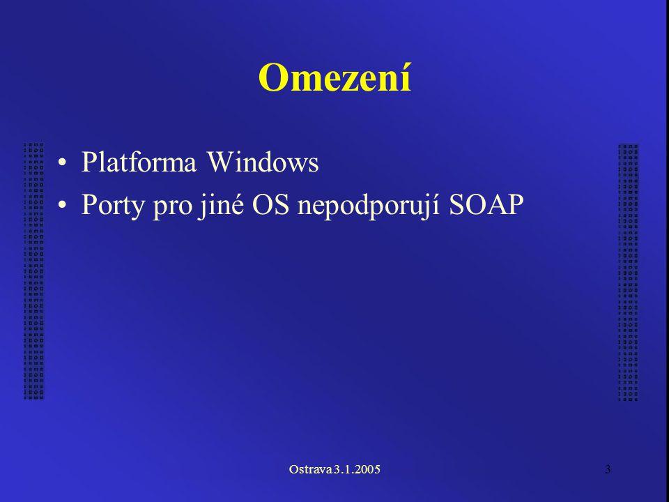 Ostrava 3.1.20053 Omezení Platforma Windows Porty pro jiné OS nepodporují SOAP