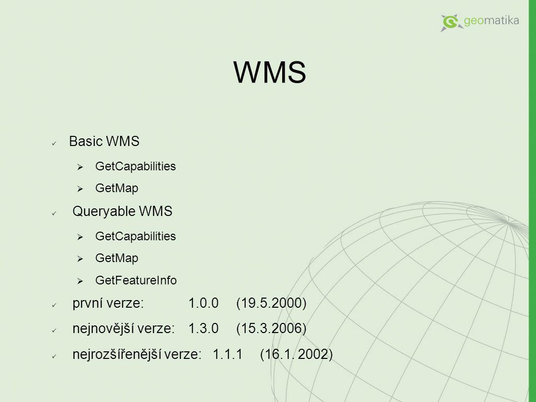 WMS Basic WMS  GetCapabilities  GetMap Queryable WMS  GetCapabilities  GetMap  GetFeatureInfo první verze: 1.0.0(19.5.2000) nejnovější verze:1.3.0(15.3.2006) nejrozšířenější verze:1.1.1(16.1.