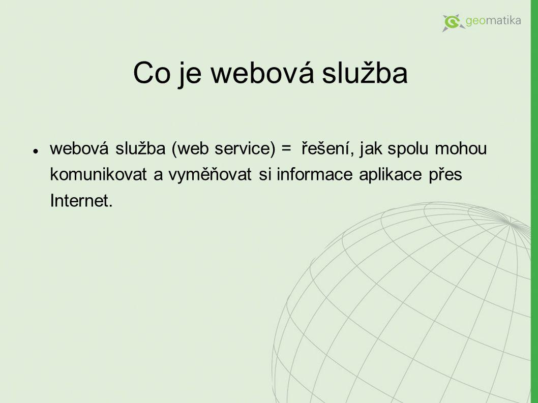 Co je webová služba webová služba (web service) = řešení, jak spolu mohou komunikovat a vyměňovat si informace aplikace přes Internet.