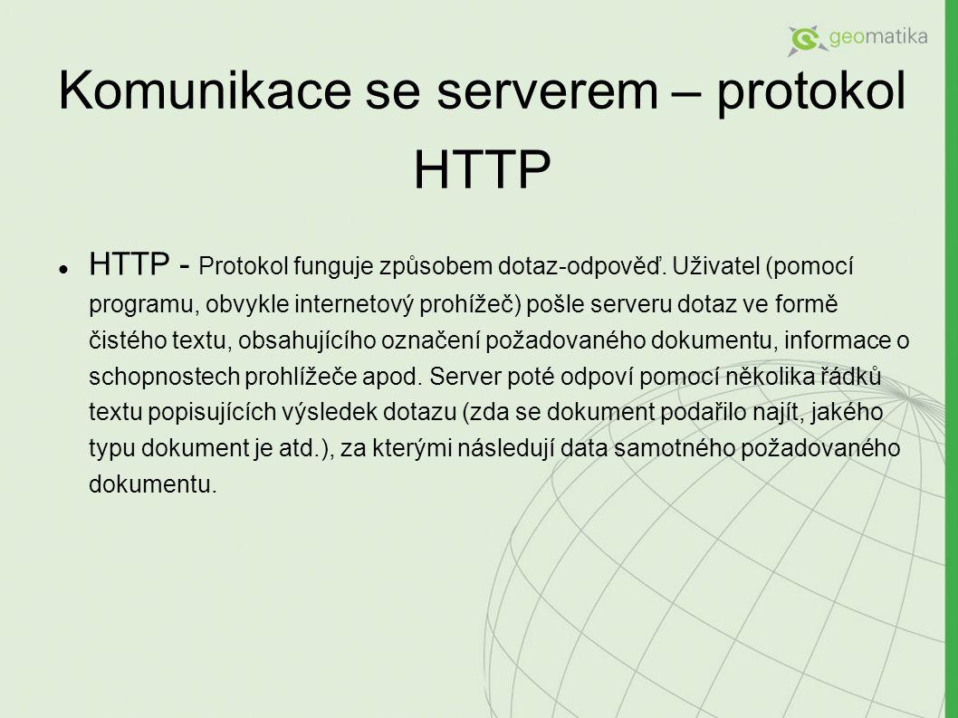 Komunikace se serverem – protokol HTTP HTTP - Protokol funguje způsobem dotaz-odpověď.