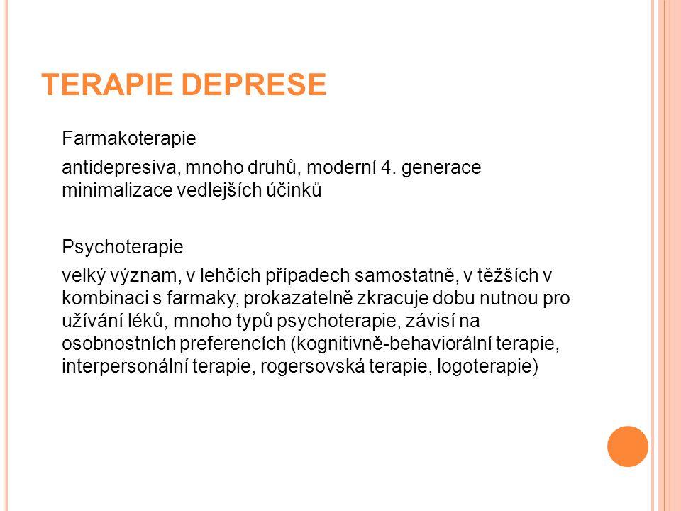 TERAPIE DEPRESE Farmakoterapie antidepresiva, mnoho druhů, moderní 4. generace minimalizace vedlejších účinků Psychoterapie velký význam, v lehčích př