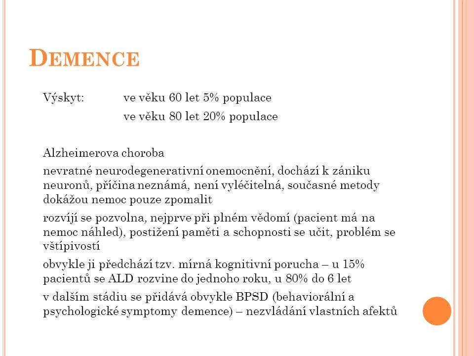 D EMENCE Výskyt:ve věku 60 let 5% populace ve věku 80 let 20% populace Alzheimerova choroba nevratné neurodegenerativní onemocnění, dochází k zániku n