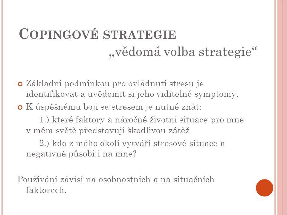 """C OPINGOVÉ STRATEGIE """" vědomá volba strategie"""" Základní podmínkou pro ovládnutí stresu je identifikovat a uvědomit si jeho viditelné symptomy. K úspěš"""