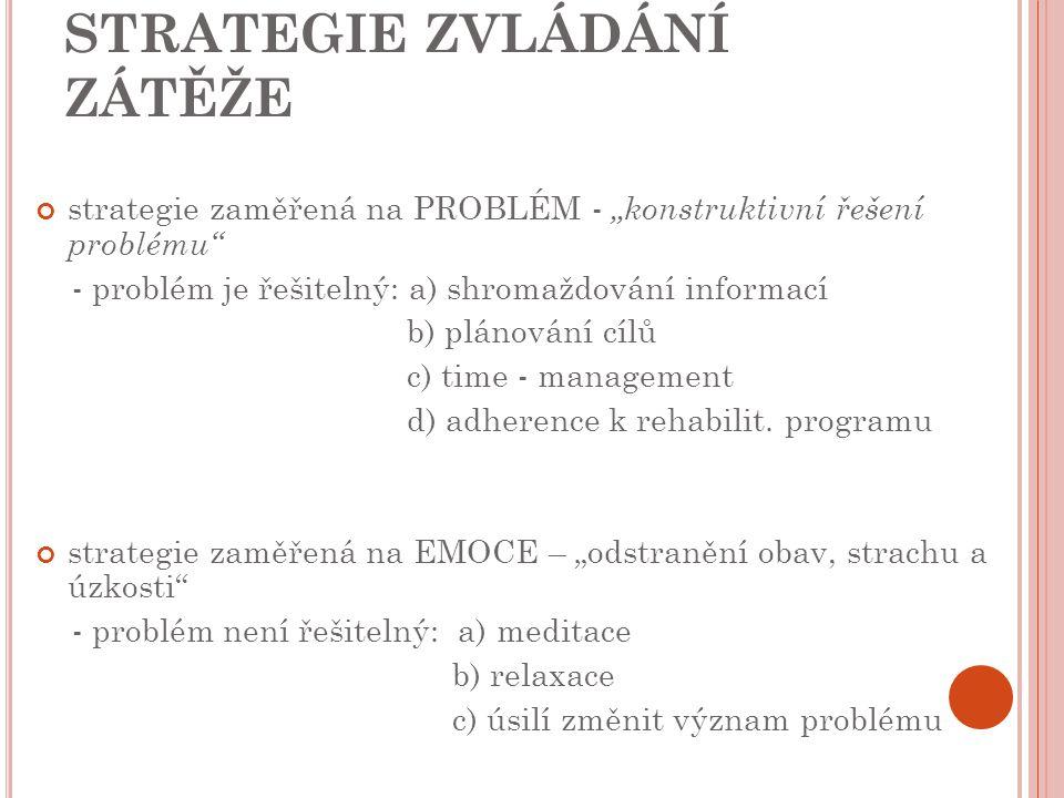 """STRATEGIE ZVLÁDÁNÍ ZÁTĚŽE strategie zaměřená na PROBLÉM - """"konstruktivní řešení problému"""" - problém je řešitelný: a) shromaždování informací b) plánov"""