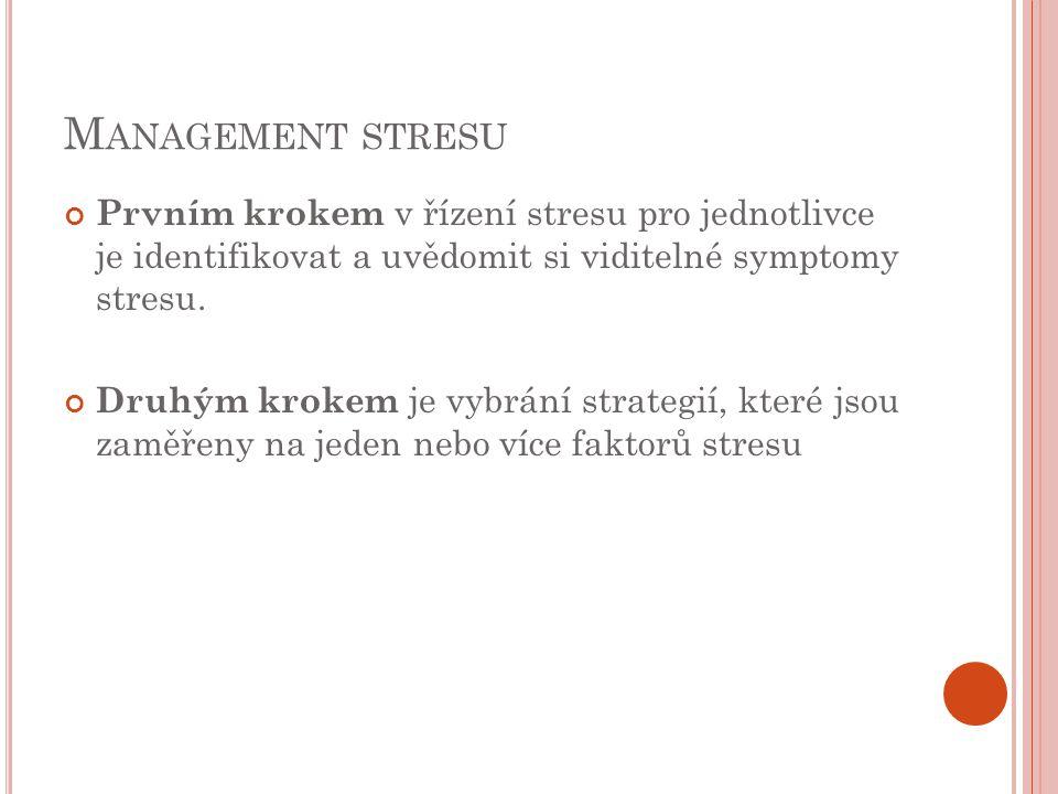 M ANAGEMENT STRESU Prvním krokem v řízení stresu pro jednotlivce je identifikovat a uvědomit si viditelné symptomy stresu. Druhým krokem je vybrání st